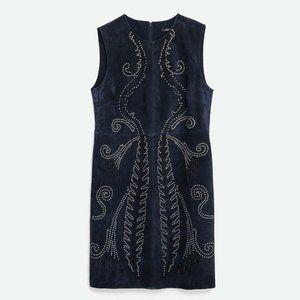 ZARA Suede Mini Dress Studs Navy